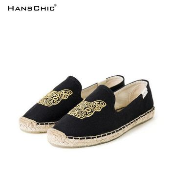 HANSCHIC 2018 New Arrival Black Special Embroidery Dog Design Comfortable Ladies Womens Casual Espadrilles Shoes TB545866446687