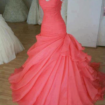 Gorgeous Ball Gown Sweetheart Sweep Train Prom Dress/ Wedding Dress