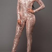 Rose Gold Geometric Sequin Round Neck Long Sleeve Fashion Club Catsuit Jumpsuit