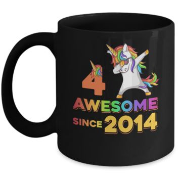 Unicorn Dabbing Awesome Since 2014 4Th Birthday Mug