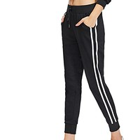 Women's Drawstring Waist Striped Side Jogger Sweatpants With Pockets