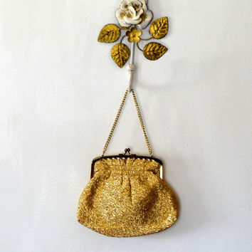 Yellow gold sparkly evening bag / metallic / glitter / cream gold tone / chain / lined / vintage / retro / 1950s / purse  / small clasp bag