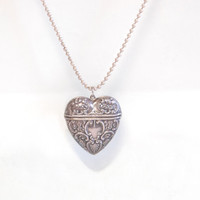 Victorian Sterling Heart Locket Necklace Antique Repousse Art Nouveau Jewelry Trinket Box Pill Box Collectibles Accessories Gift for Her
