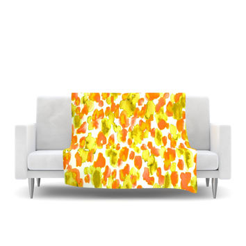 "Ebi Emporium ""Giraffe Spots - Orange"" Orange Yellow Fleece Throw Blanket"