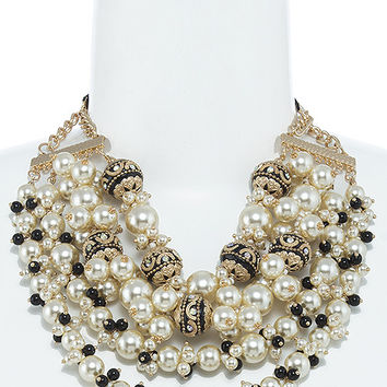 FAUX PEARL MIXED BEADED MULTI STRAND NECKLACE SET