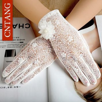 CNTANG Summer Sexy Lace White Gloves For Women Fashion Ladies Touch Screen Flower Gloves Girls Female Driving Sunscreen Gloves