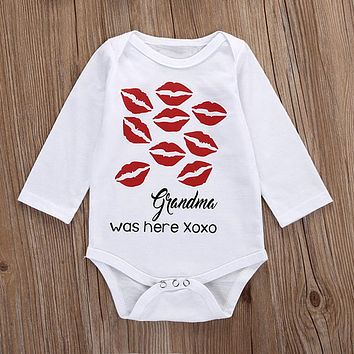 Newborn Cotton Clothes Toddler Baby Boy Girls Long Sleeve Jumpsuit Infant Fashion Red Lip Print Bodysuit