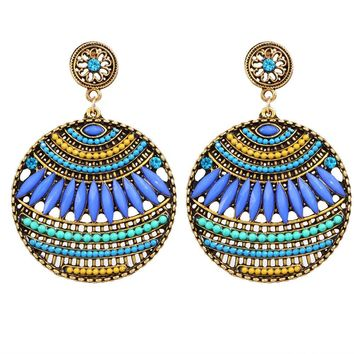 Bohemian Ethnic Earrings for Women Blue Acrylic Big Statement Vintage Dangle Earring Brinco Indian Jewellery Accessories