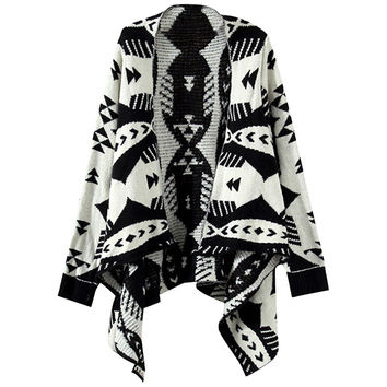 Geo Print Asymmetrical Cardigan Sweater