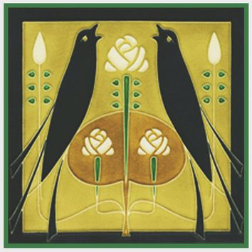 Song Birds By Talwin Morris  Arts and Crafts Style Counted Cross Stitch Pattern