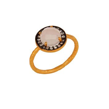Halo Rose Quartz and White Topaz Pave Ring in Gold Vermeil