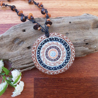 Polymer Clay Pendant on Beaded Hemp Necklace, neutral brown and black