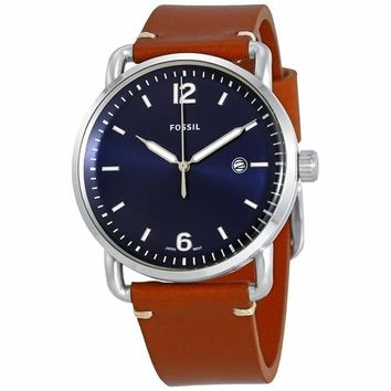 Fossil Mens FS5325 Blue Dial and Brown Leather Band Watch
