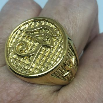 Vintage 1980's Golden Stainless Steel Egyptian Ankh Horus Eye Men's Ring