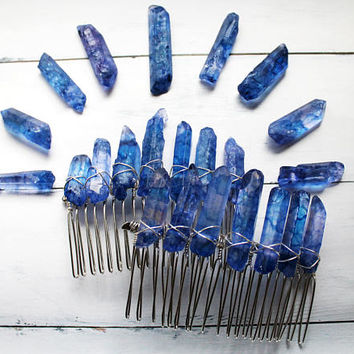 Aura Quartz Crystal Hair Combs -  Bridal Hair Accessories