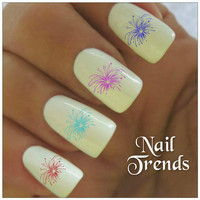 Fireworks Nail Decal. Patriotic July 4th Memorial Day 20 Vinyl Stickers Nail Art