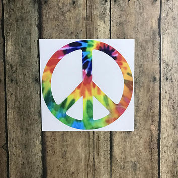 peace sign decal / tie dye / rainbow / peace / world peace / love / unity / equality /