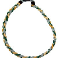 "Titanium Sport Baseball / Softball Twisted 3 Rope Tornado Braid Necklace 20"" Gold Gray Green"