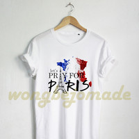 Let's Pray for Paris Shirt Peace Paris French Flag Tshirt White Color T-Shirt