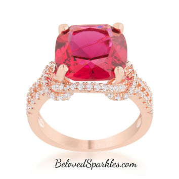 Charlene Ruby Red Rose Gold Statement Cocktail Ring | 8ct | Cubic Zirconia | Rose Gold