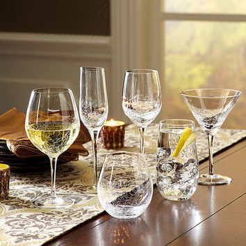 Crackle Clear Stemware