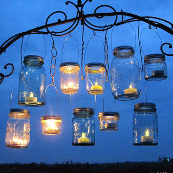 Party Favor Lanterns 100 DIY Wedding Mason Jar Hanging Lids, Ball Mason Jar Party or Event Lanterns for Gifts, Candles or Tealights