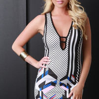 Abstract Striped Bodycon Dress
