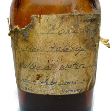 Vintage Poison Bottle, Brown Glass Bottle, Old Label Brockway Apothecary Veterinary Poison