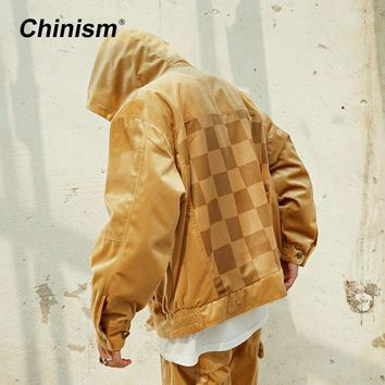 Trendy CHINISM Pleuche Golden Hooded Jacket Male Loose Back Plaid Patchwork Outwear Jackets Hip Hop Streetwear AT_94_13