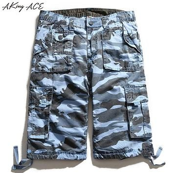 2017 AKing ACE Blue Camouflage Cargo shorts brand for male navy army mens camo shorts Baggy cargo harem short pants ,ZA242