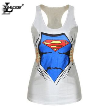 Summer Style Fashion Vest Sad Superman Emoji Pattern Women Tank Tops Cartoon Print Fitness  Sexy Punk Camisole F123