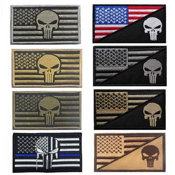 2016 Army Fans Outdoor Popular Embroidered Armbands + Punisher American Flag Standard Cloth Embroidered Patches Accessory