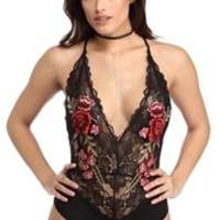 Black Lustful Rose Applique Bodysuit