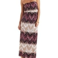 Ivory Combo Strapless Chevron Print Maxi Dress by Charlotte Russe