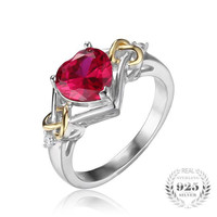 Heart Red Ruby Ring - 925 Sterling Silver