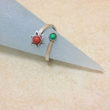 Star of David ring, Adjustable ring, sterling silver , Eilat stone, Coral stone, Judaica, Jewish Jewelry, magen david ring, Israeli stone