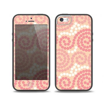 The Pink Spiral Polka Dots Skin Set for the iPhone 5-5s Skech Glow Case