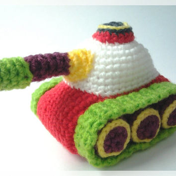 Amigurumi Tank, crochet doll,  ready to ship.
