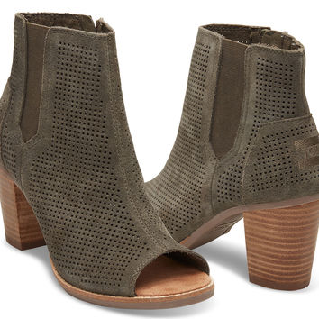 TARMAC OLIVE PERFORATED SUEDE WOMEN'S MAJORCA PEEP TOE BOOTIES