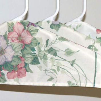 SALE : Set of 3 Hanger Covers - Pastel pink, Green and Mauve, Up-cycled Sheets