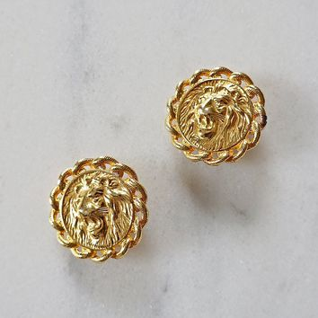 Vintage 1980s Fierce + Lion Head Earrings