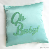 Oh Baby Mint On Mint Nursery Pillow Cover. Baby Shower Gift. Sweet Valentine Decorative Cushion Cover.