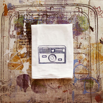 Vintage Instamatic Camera Tea Towel Flour sack Hostess Gift Wrapped