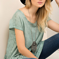 Dark Sage Dropped Peplum Tee