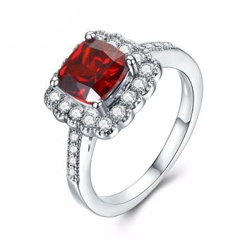 Red CZ Crystal Cushion Cut White Gold Plated Ring
