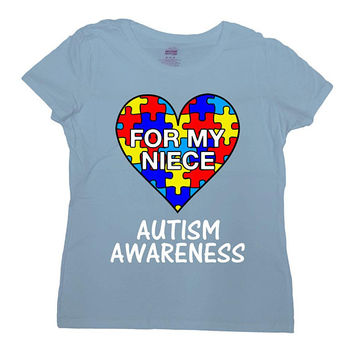 Autism Awareness Shirt Aunt T Shirt Uncle Gift Ideas Puzzle Piece Autism Spectrum Autistic Support For My Niece Mens Ladies Tee - SA1046