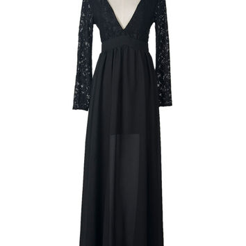 Black Plunge Neck Lace Overlay Sheer Panel Backless Maxi Dress