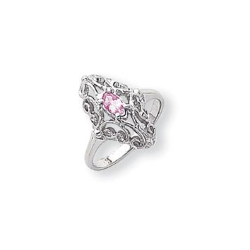 14k White Gold 5x3mm Oval Pink Sapphire Ring