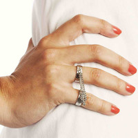 Bohemian Hippie Double Finger Chain Ring