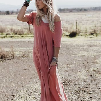 V Neck Pocket Tee Maxi Dress - Ash Rose